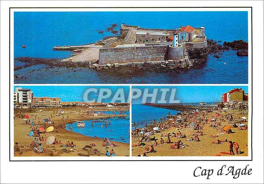 Moderne Karte Cap d'Agde (Herault France)Le fort Brescou Le mail de Rochelongue et la plage Richelieu 0