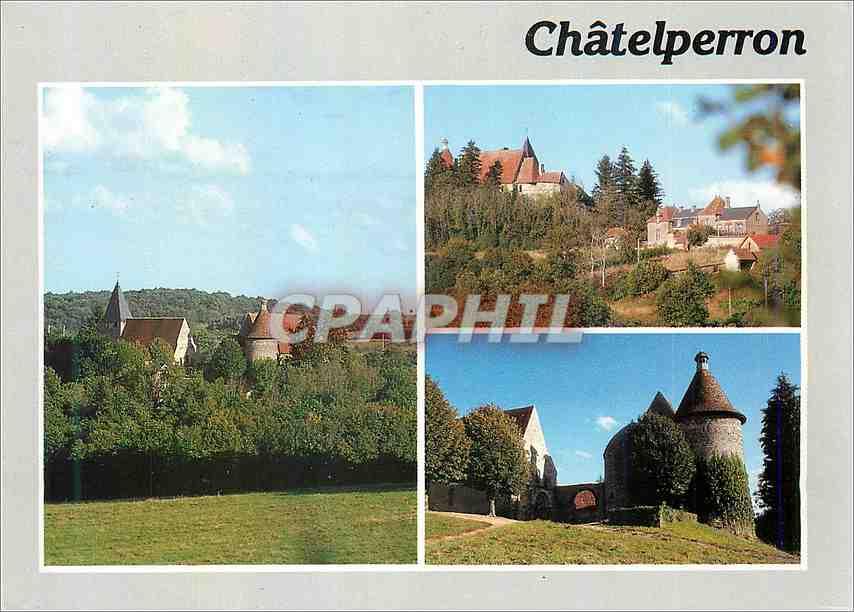 Moderne Karte Chateau et eglise de Chatelperron Environs de Jaligny sur Besbre (Allier) 0