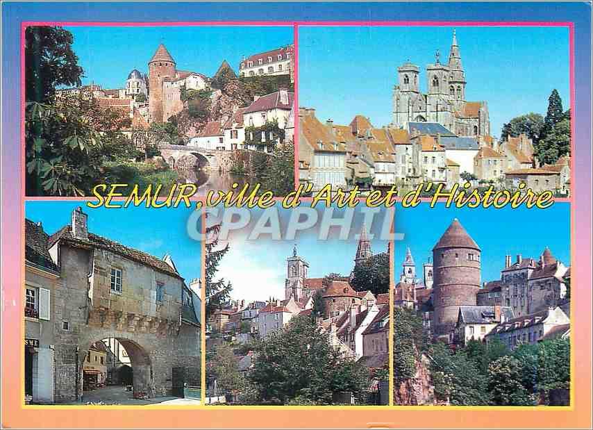 Moderne Karte Semur en Auxois (Cote d'Or)Bords de l'Armancon Eglise Notre Dame (XIII XVIe s)Porte Sauvigny (XV 0
