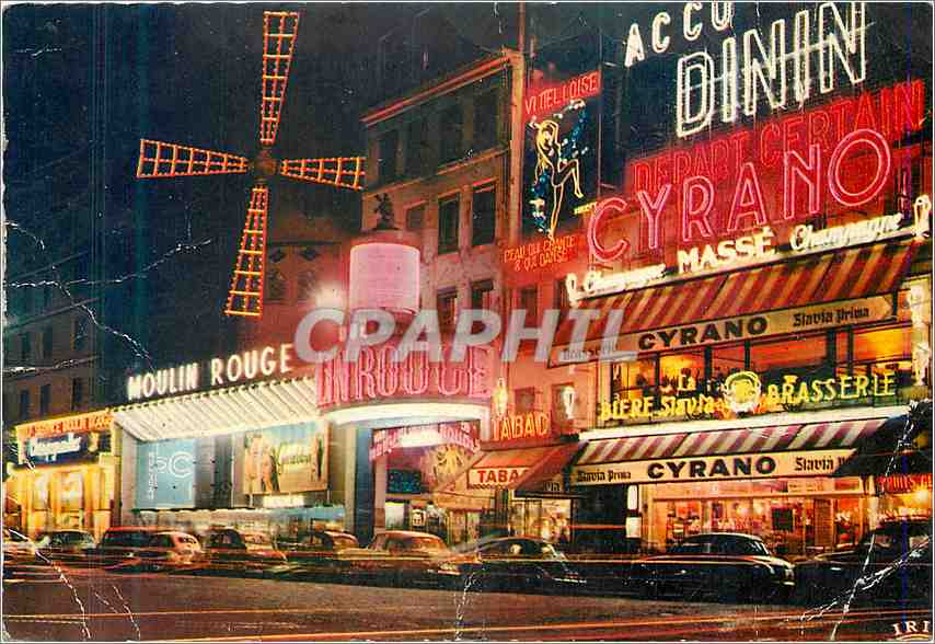Moderne Karte Paris Le Moulin Rouge la Nuit 0