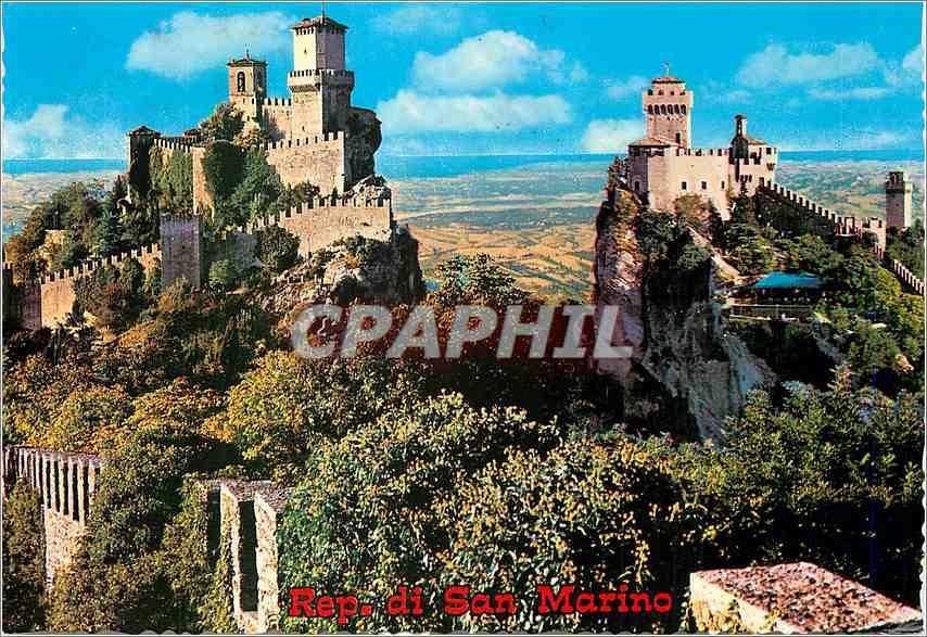 Moderne Karte Repubblica Di S Marion Panorama des trois tours 0