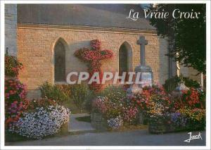 Moderne Karte Couleurs de Bretagne La vraie Croix (Morbihan)Commune fleurie