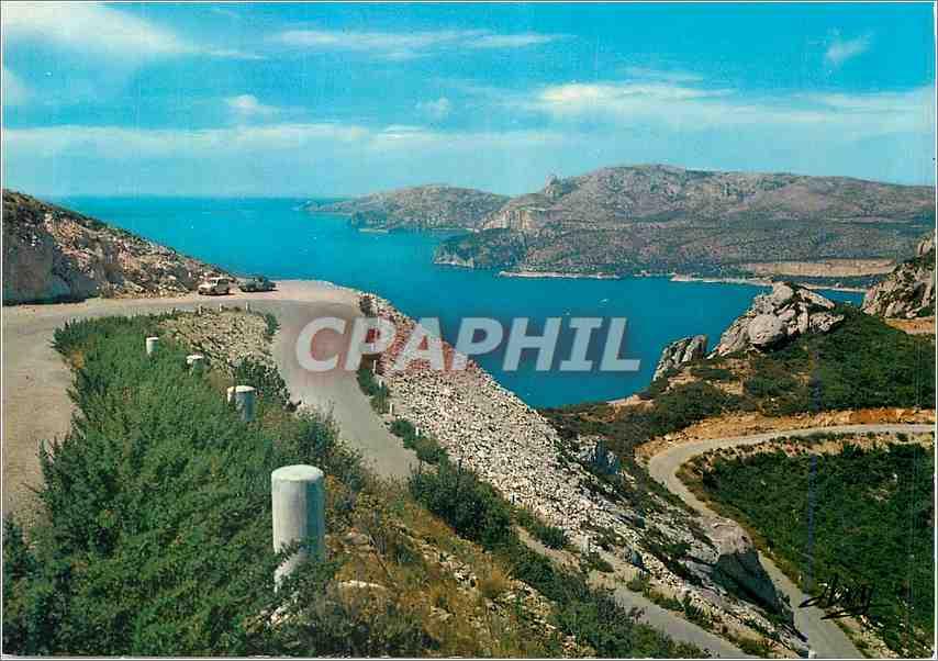 Moderne Karte Route de Cretes de Cassis a la Ciotat vue sur les calanques et le massif de Marseille 0