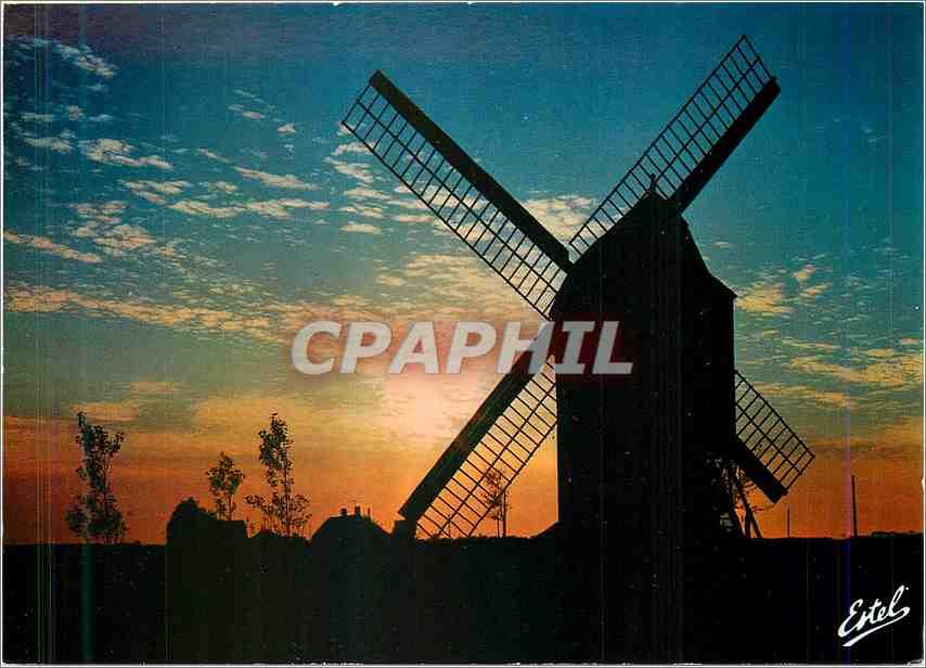 Moderne Karte La Cote d'Opale Le moulin des Huttes au Crepuscule Moulin 0