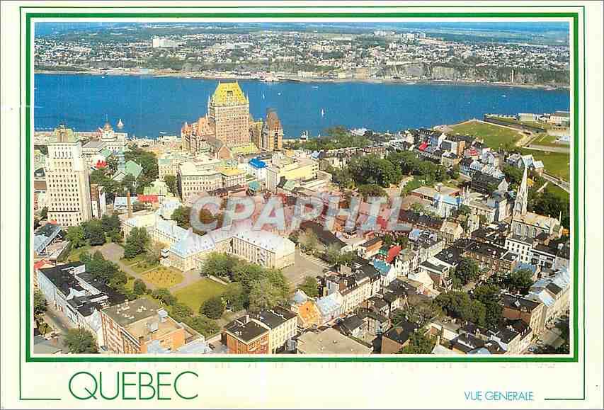Moderne Karte Quebec Que La vieille ville le chateau Frontenac et le fleuve saint l A l'arriere la ville de Le 0