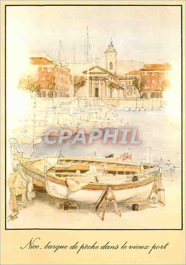 Moderne Karte La Cote d'Azur inoubliable Nice Barque de peche dans le vieux port Bateau 0