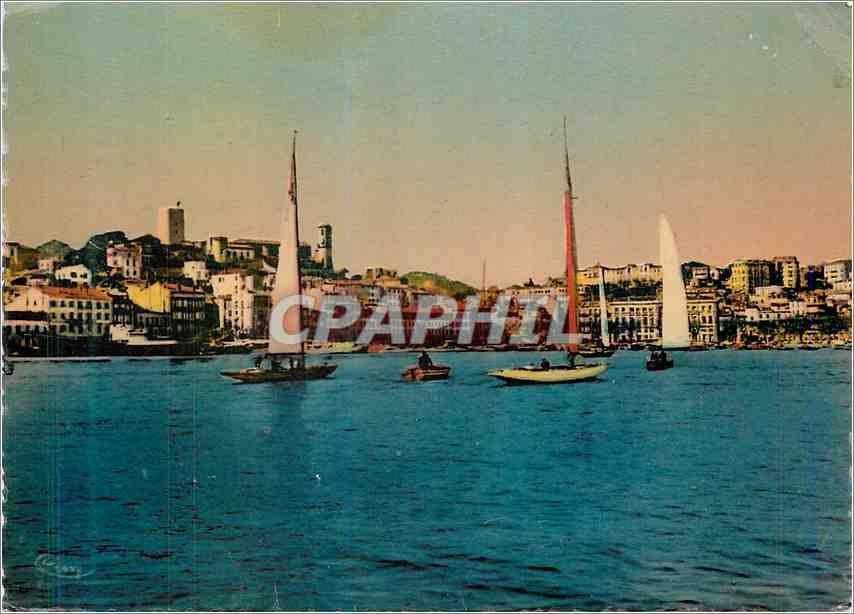 Moderne Karte La Cote d'Azur Cannes Le port pendant les Reghtes Bateaux 0