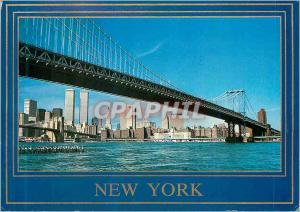 Moderne Karte The Manhattan Bridge with Downtown New York skyline The East River is in the foreground