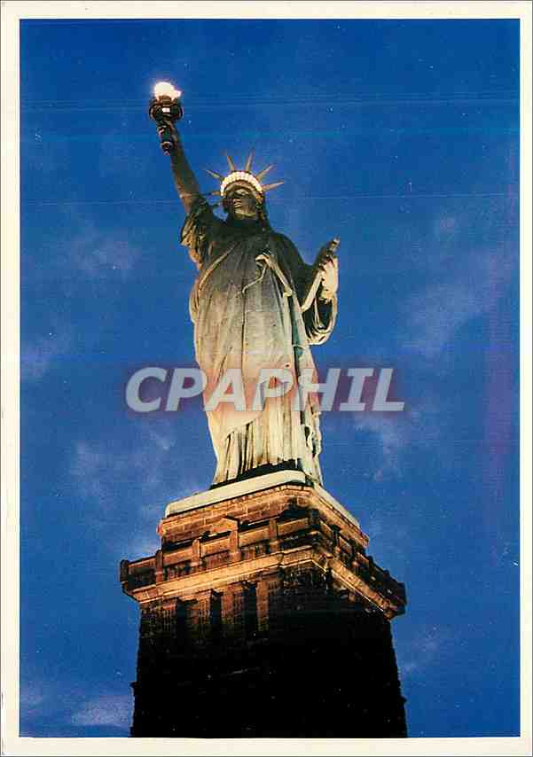 Moderne Karte Night View Statue of Libert Island in New York Bay 0
