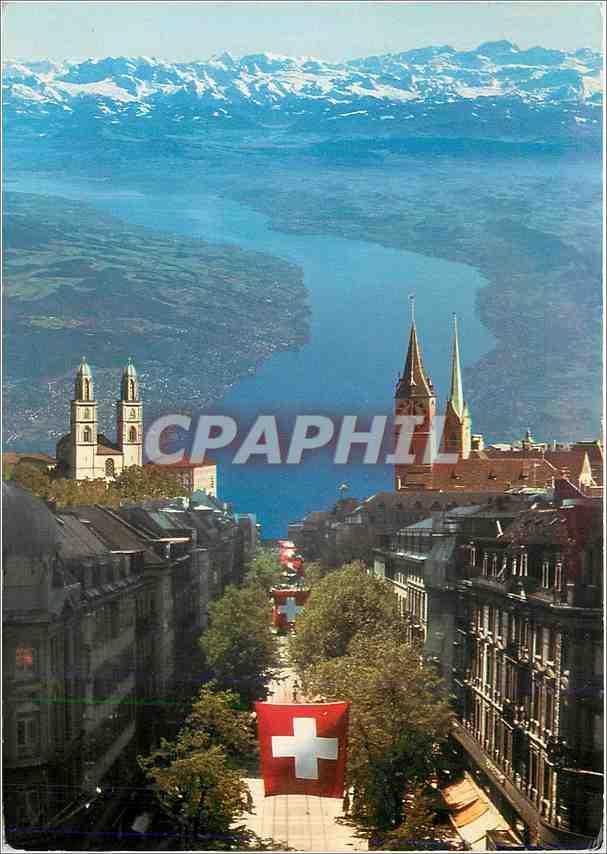 Moderne Karte Suisse Skyline See Und Alpen 0