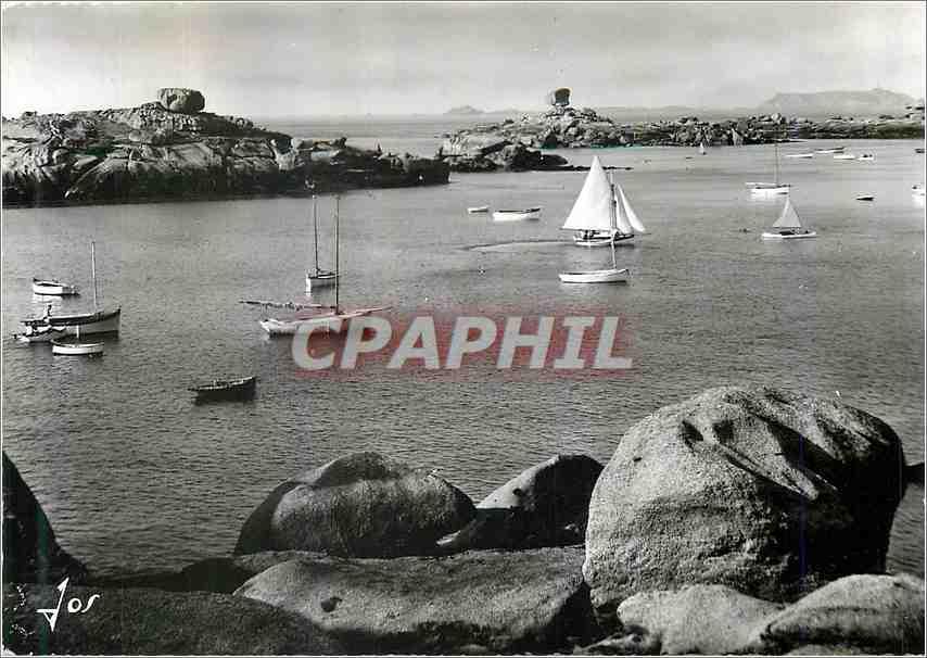 Moderne Karte Tregastel (C du N)La crique de Coz Pors avec ses Ilots de rochers pittoresques Ile Dhu et le De 0