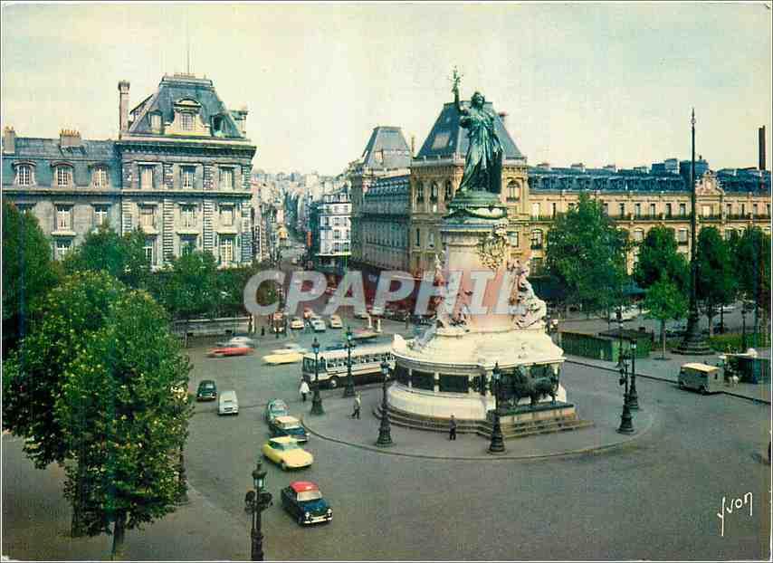 Moderne Karte Couleurs et Lumiere de France Paris Place de la Republique et le monument de la republique (1883 0