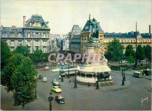 Moderne Karte Couleurs et Lumiere de France Paris Place de la Republique et le monument de la republique (1883