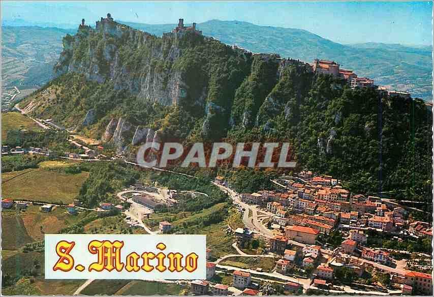 Moderne Karte Rep Di San Marino Vue aerienne du Mont Titano 0
