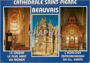 Moderne Karte Beauvais (Oise)France La Cathedrale St Pierre Le Choeur Portail et Transped Sud Horloge Astronom
