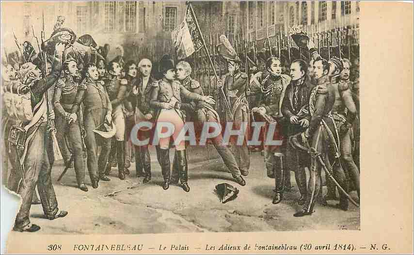 Ansichtskarte AK Fontainebleau Le Palais Les Adieus de Fontainebleau (20 Avril 1814) Napoleon 1er 0