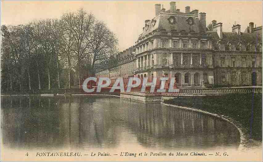 Ansichtskarte AK Fontainebleau Le Palais L'Etang et le Pavillon du Musee Chinois 0