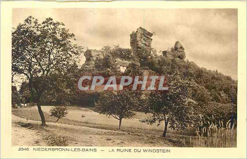 Ansichtskarte AK Niederbronn Les bains La ruines du Windstein 0