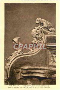 Ansichtskarte AK Thann Sculptures des Stalles du Choeur de la Cathedrale (XVI siecle)