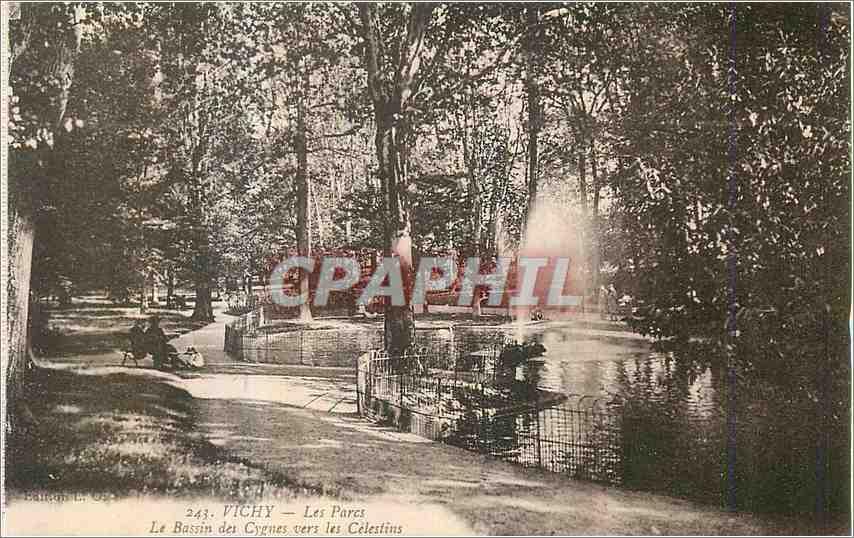 Ansichtskarte AK Vichy Les Parcs Le Bassin des Cygnes vers les Celestins 0