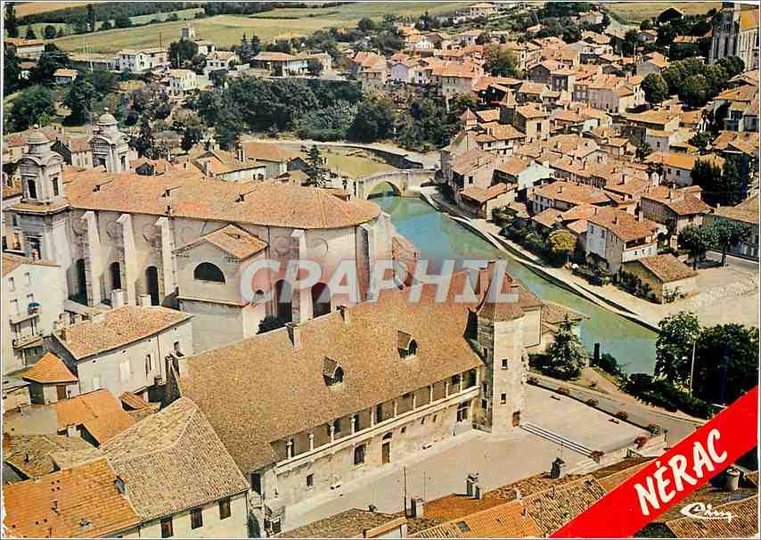 Moderne Karte Nerac L et Gar Vue aerienne Le chateau l eglise et le vieux pont 0