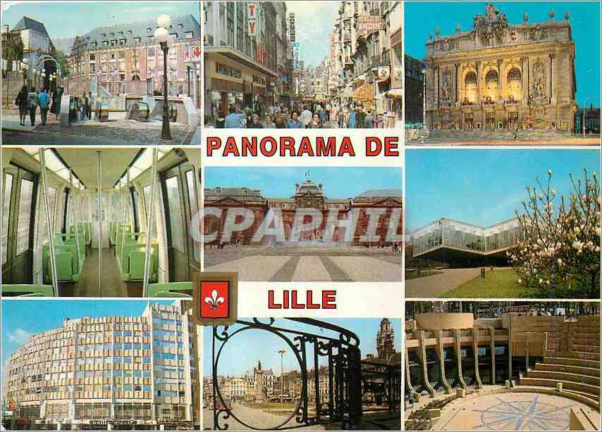 Moderne Karte Lille Nord France Station Rihour Rue Pietonne L Opera Le Metro 0