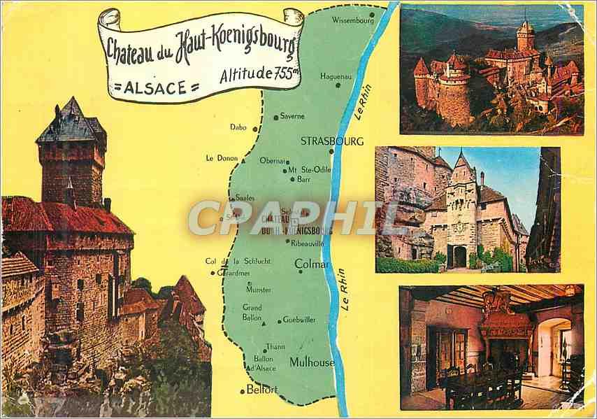 Moderne Karte Chateau du Haut Koenigsbourg Alsace 0