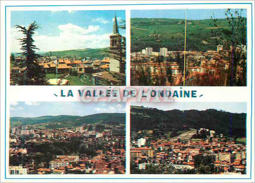 Moderne Karte La Vallee de l Ondaine Loire avec vues generales de la Ricamarie 0