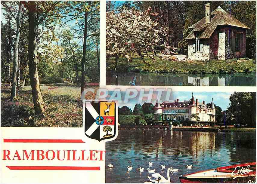 Moderne Karte Rambouillet Yvelines Le Parc Le Pavillon des coquillages Vue sur le chateau 0