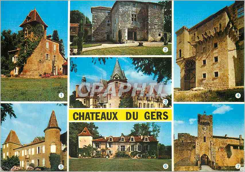 Moderne Karte Chateaux du Gers Espares Lavardens Le Luc Castelmore La Plagne Bazillac Larrensingle 0