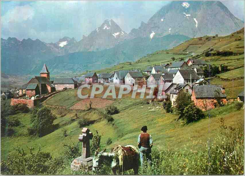 Moderne Karte Lescun Pyrenes Atlantiques Le Village et les Pyrenees Ane Donkey 0