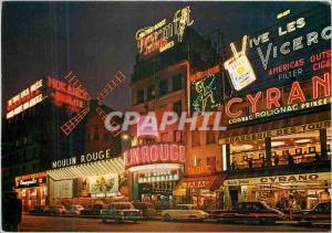 Moderne Karte Paris et ses Merveilles Montmartre la nuit le Moulin Rouge Cyrano