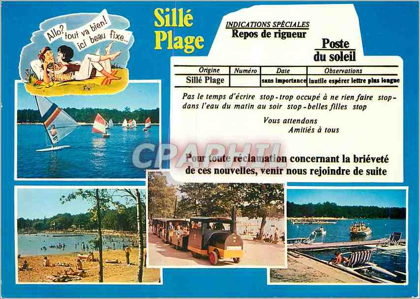 Moderne Karte Sille le Guillaume Sarthe Sille Plage Train 0