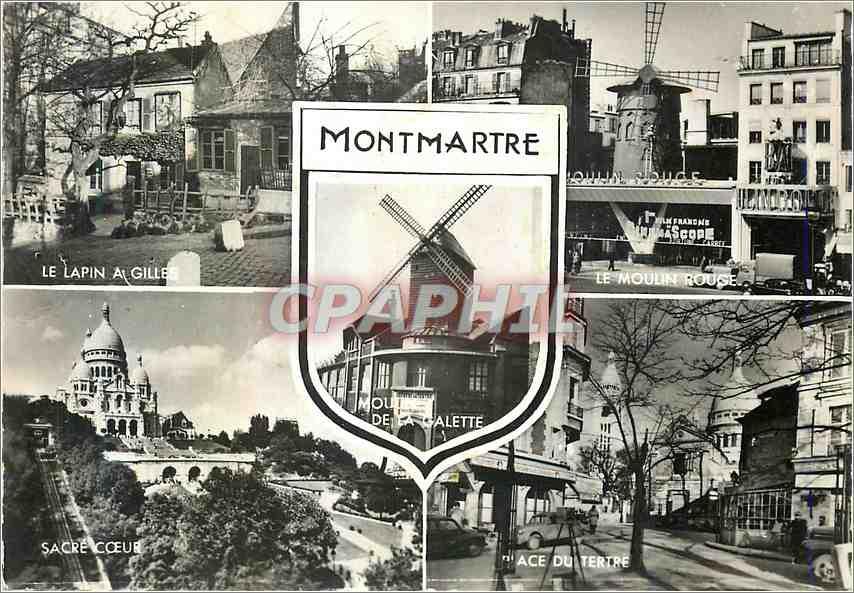 Moderne Karte Montmartre Paris LE Lapin A Gilles Moulin rouge Sacre C�ur Place du Tertre 0