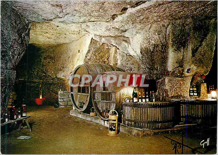 Moderne Karte Au Pays des vins de la Loire Cave creusee dans la pierre ou vieillit lentement le bon vin 0