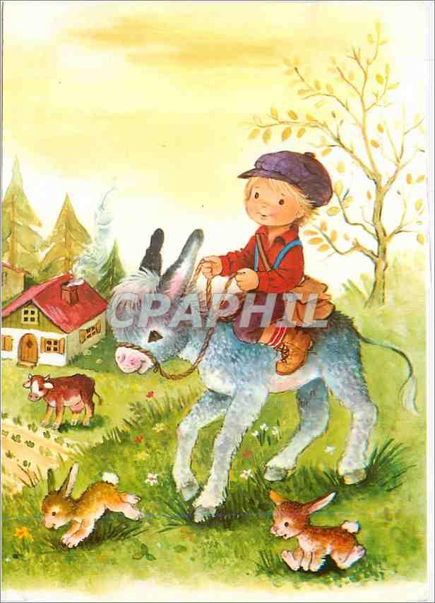 Moderne Karte Enfant Ane Donkey Vache Lapin 0