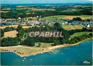 Moderne Karte Vue aerienne plage et camping Priziac Morbihan