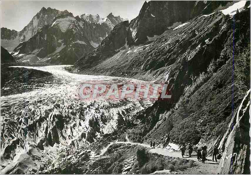 Moderne Karte Chamonix Hte Savoie Mer de glace et massif des grandes Jorasses 0