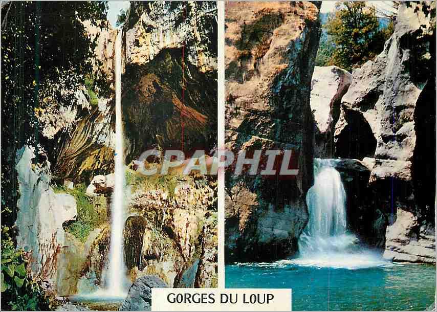 Moderne Karte Cote d Azur French Riviera Excursion des Gorges du Loup La Cascade de Courmes 0