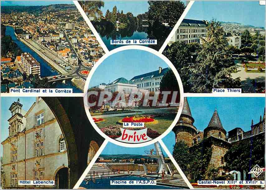 Ansichtskarte AK Brive Correze Pont Cardinal et la Correze Bords de la Correze Place Thiers Hotel Labenche Piscin 0