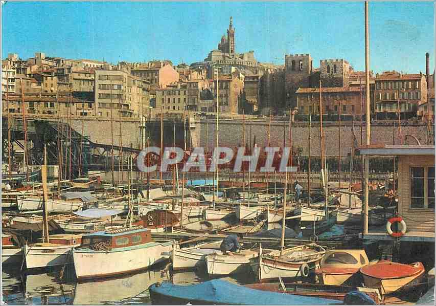 Moderne Karte Marseille Bassin de Carenage Abbaye St Victor Bateaux de peche 0