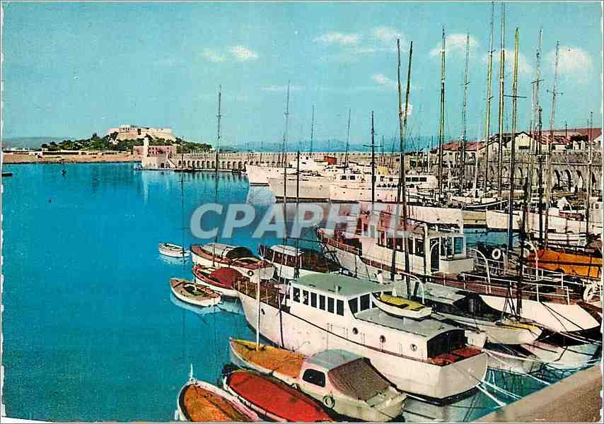 Moderne Karte Antibes AM Le Port et le Fort Carre Bateaux 0