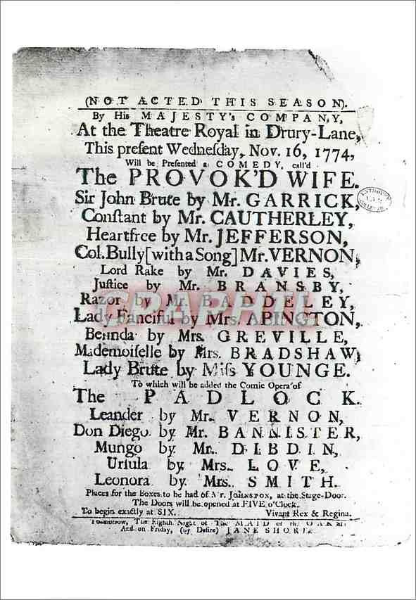 Moderne Karte Playbill for the performance of the Provokd Wife Victoria and Albert Museum Enthoven Collection 0