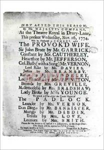 Moderne Karte Playbill for the performance of the Provokd Wife Victoria and Albert Museum Enthoven Collection