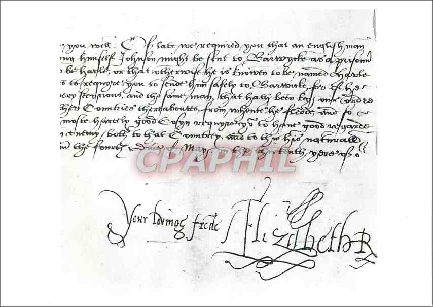 Moderne Karte Signature of Queen Elizabeth I Victoria and Albert Museum 0