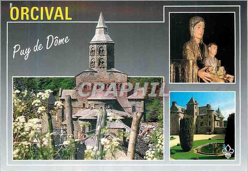 Moderne Karte Orcival Puy de Dome L Eglise Vierge Chateau de Cordes 0