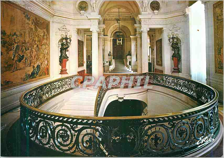 Moderne Karte Chantilly Oise Le chateau la rampe du grand escalier et la hall d entre du Musee Conde 0