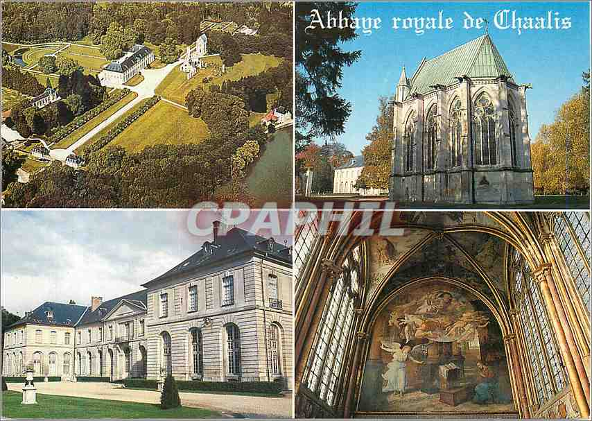 Moderne Karte L Abbaye royale de Chaalis Vue aerienne La chapelle abbatiale 0