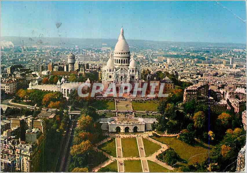Moderne Karte Paris Vue aerienne Basilique du Sacre Coeur de Montmartre 0