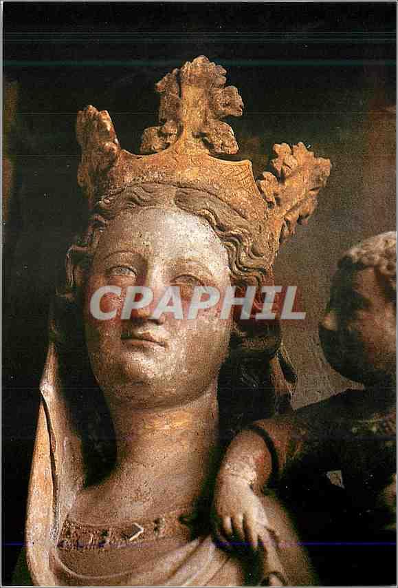 Moderne Karte Vierge et l enfant detail sculpture piere polychrome et doree 0
